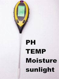 Wholesale Moisture Tester For Soil - Wholesale- LCD Display 4 In1 Plant Flowers Soil Survey Instrument PH Meter Temperature Moisture Sunlight Tester For Agriculture