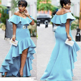 Wholesale Low Back Red Prom Dresses - Sky Blue Off The Shoulder Prom Dresses 2018 Ruffles High Low Evening Gowns Saudi Arabic Zipper Back Women Party Dress Vestidos