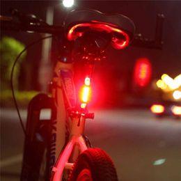 Luces de advertencia portables online-Portátil 5 LED USB MTB Bicicleta de carretera Luz de cola Recargable Advertencia de seguridad Bicicleta Luz trasera Lámpara Ciclismo Bicicleta luz