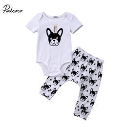 Wholesale Dog Girls Pants - pudcoco Newborn Baby Boy Girl cotton dog print Summer clothing Kids boys girls Tops Bodysuit Pants Outfits Clothes Set