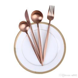 Cuchillos online-Alambre de acero inoxidable Dibujo Vajilla occidental Establece Rose Golden Knife Tenedor Cuchara de cuatro piezas Set Wedding Party Supply 8mk gg