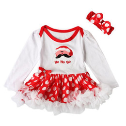 Wholesale Band Set Up - Baby Girls Outfits Newborn Infant My First Christmas Tutu Dress Up Baby Christmas Lace Dress + Hair Band Two Set