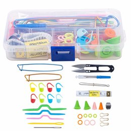 Wholesale multi embroidery machine - 56pcs New Crochet Hook Needle Knit Yarn Weave Clip Stitches Scissors Pins Knitting Tool Kit with Case