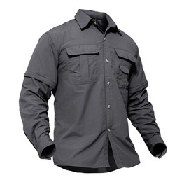 removable collar shirt Promo Codes - Men's Shirts Quick Dry Tactical Clothes Casual Shirts Long Sleeve Blouse Army Style Cargo Shirt Removable Outerwear