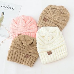 Wholesale Folding Hats - 17 Colors Women CC Hats Winter Warm Hats Girl Knitted Beanie Cute Knit Cap Folds Casual CC Beanies Hat Solid Hat