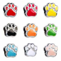 Wholesale Paw Charm Blue - Beads European Style Charm Beads Bear's Paw Loose Bead Silver Plated Bear Paw Print Enamel DIY Jewelry Accessory D669S