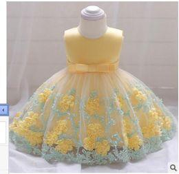 Vestido de batismo de bebê vintage on-line-2018 Vintage Baby Girl Dress Baptismo Vestidos para meninas 1 º aniversário festa de aniversário de casamento batismo infantil roupa s