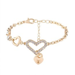 Wholesale Holiday Tops For Women - 2018 Double heart pendant charm bracelet Fashion Love Rhinestone Bracelet Jewelry good quality Top quality for woman Free shipping