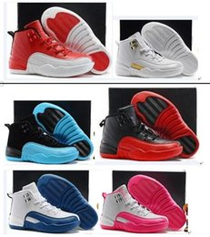 Wholesale lavender gifts - Boys Girls Retro 12 Kids Basketball Shoes Childrens 12s Gym Red 12s Barons Wolf Grey French Blue Sports Shoes Toddlers Birthday Gift