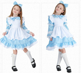 2019 livro de trajes Halloween Deluxe Girl's Alice no País das Maravilhas Traje Kid Storybook Lolita Maid Livro Semana do Dia das Crianças Outfit Fancy Dress desconto livro de trajes