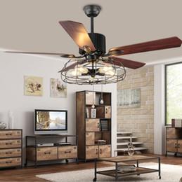 Restaurants en bois en Ligne-42 pouces Loft ventilateur industriel ventilateur de plafond plafonnier rétro restaurant américain accueil LED direct ventilateur lustre feuille de bois télécommande