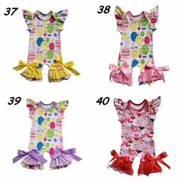 Wholesale Girls Pajamas Size - Baby Short Sleeve romper Easter Boutique Chick Egg flower print Ruffle Jumpsuit Cotton romper Newborn Pajamas 40styles for choose