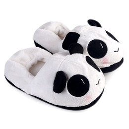 Wholesale Used Women Shoes - Cute Girls House Shoes Winter Warm Shoes Lovely Cartoon Indoor Panda Face Slippers For Home Use Homing Slippers For Women