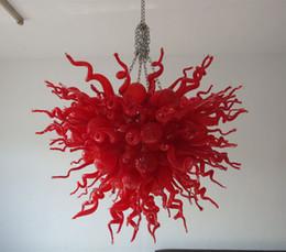 2020 lampara de murano rojo Modern Color Red Chandelier Glass Murano Glass Crystal Chandelier Lamp Style Colgante colgante de luz con bombillas LED rebajas lampara de murano rojo
