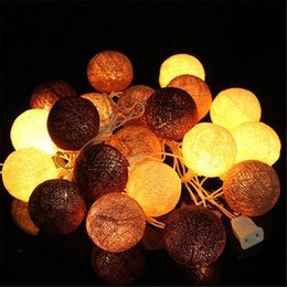 Wholesale Cotton Fairy String Lights - 3Meters Fabric Cotton Ball 20 LED String Lights Fairy Xmas Christmas Wedding Holiday Party Home Decoration Lamp Bulb US Plug
