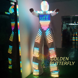 2019 ha condotto i vestiti del robot Abbigliamento LED Abbigliamento da uomo a LED Robot Costume Casco Glowing Stilts Abbigliamento Uomo Abbigliamento con sala da ballo Danza meccanica sconti ha condotto i vestiti del robot