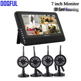 "Wholesale Long Range Security - DVR Security System Digital Wireless 7"" LCD Monitor SD Card Recording and 4 Long Range Night Vision CCTV Cameras Recorder"
