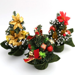 Wholesale Mini Gift Bows - Mini Home Office Bedroom Living Room Desk Top Artifical Christmas Tree with Pinecone Bows Gifts Ornaments Decorations