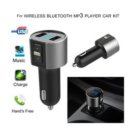 Wholesale Multifunctional Usb Adapter - Multifunctional Car USB Bluetooth FM Transmitter MP3 Player Wireless Radio Adapter Dual Port Charger Cigarette Lighter Socket