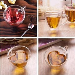 Wholesale transparent tea cups - 180ml 240ml Double Wall Glass Coffee Mugs Transparent Heart Shaped Milk Tea Cups With Handle Romantic Gifts Wine Glasses CCA9796 10pcs