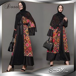 343e33de5b Chinese Muslim Open Abaya Print Cardigan Maxi Dress Jilbab Ethnic Long Robe  Loose Style Plus Size