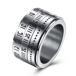 Wholesale Indian Series - Titanium steel series can rotate Rome digital password ring personalized ring male models ring