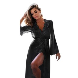Wholesale women s sheer robes - 2018 New Sexy Sheer Lace Bath Clothes Women Robes Female Lace Sexy Sleepwear Bathrobes Long Sleeve Coat Nightwear Pajamas