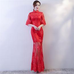Argentina Historia de Shanghai, media manga, vestido tradicional chino bordado floral sirena larga Qipao para mujeres encaje cheongsam vestido vestido oriental Suministro