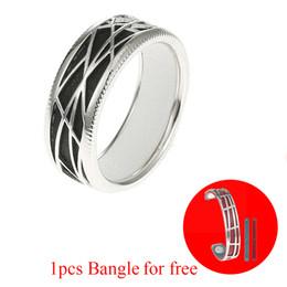 Anéis de casamento de 14mm on-line-Legenstar anel de prata De Couro Para As Mulheres arrastão grid Anel 100% de prata Jóias de Casamento / Casal (pulseira de couro de presente de 14mm)