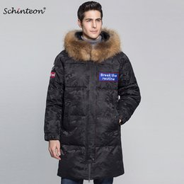 05a923607b64 2018 Schinteon Men Top Quality Down Jacket with 100% Real Big Raccoon Fur  Collar Hood 90% White Duck Down Camouflage Outwear