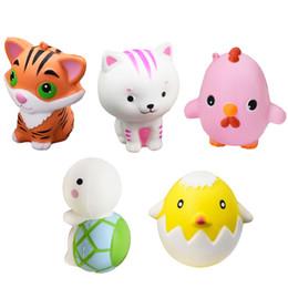 Tartarughe giocattolo morbido online-Soft Squishy Cartoon Animal Tartaruga Tiger Chick Toy Lento aumento per alleviare lo stress Ansia modello di esempio di casa