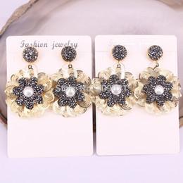 Wholesale Handmade Fashion Earrings - 4pair Handmade Pave Rhinestone Pearl Fashion Jewelry Dangle Earrings