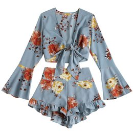 741ecd886935 STYLE Bow Knot Tie Blouse High Waist Shorts Floral Prints Boho Women S Set  Summer Flare Sleeve Cropped Top Ruffles Shorts