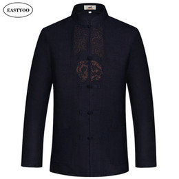 Wholesale Han Chinese Clothing - Linen Jackets Men Dragon Embroidery Jackets Long Sleeve Plus Size 3XL Chinese Jacket Han Fu Mandarin Collar Tai Chi Clothing
