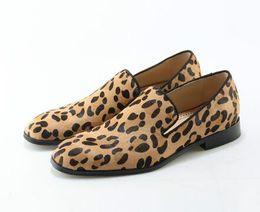 Wholesale leopard print prom - Leopard Prints Loafers Men Velvet Casual Shoes Men Flats Plus Size Men Prom Shoes suede leather penny loafers moccasins Footwear