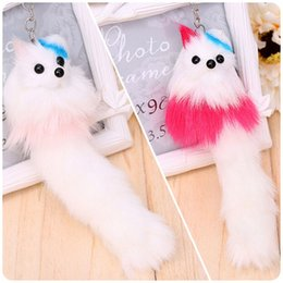 candy bags keychain Coupons - Simulation Rabbit Fur Pompon Keychain Candy Color Animal Fox Key Chain Silver Plated Bag Hanger Car Hanging Pendant Doll Women