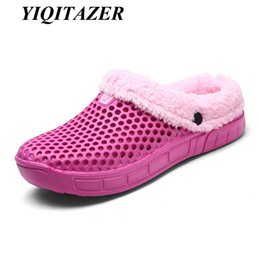 Wholesale Black White Polka Dot Heels - YIQITAZER 2017 Lovely Sweet Soft Warm Home Plush Slippers Woman,Warm Winter women slippers Casual indoor in 3 colors