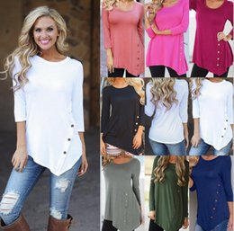 Wholesale Long Sleeve Tunic Fashion Tops - Female Irregular Pullover Blouses With buttons Tunic T Shirt Autumn Women Long Sleeve Casual Shirts Tops Women Casual T-Shirt KKA4055