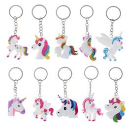 Portachiavi in metallo Cute Silicone Cartoon Unicorno portachiavi donne ragazze titolare borsa a tracolla bel cavallo Charms Animal Toy Keychain da