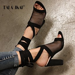 Wholesale bandage heels - LALA IKAI Women Sandals Bandage Cross Strap Lace UP High Heels PU Sandals Femme Fashion Pump Summer Shoes