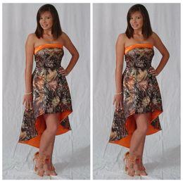guarnición del desgaste Rebajas Barato sin tirantes A-Line High Low Junior Camo vestidos de dama de honor de camuflaje corto honor de Maid Formal Wear Vestidos De vestidos de dama de honor