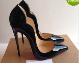 Wholesale Pointy Black Shoes - Fashion Sexy Women High Heels Red Bottom Platform Pumps Black Patent Leather Pointy Toe High Heels Luxury Brand Red Bottom Women Dress Shoe