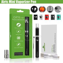 E cigs baterias recarregáveis on-line-Autêntica Airis mini Herbal Vaporizador Airistech Cera De Cristal Vape Pen Dupla Quatz Bobina 500 mAh Bateria Recarregável Fluxo De Ar Top Atomizador e cigs