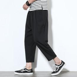 777293ce176c 2018 Sommer heißer Verkauf Männer Baumwolle Leinen atmen Stoff lose  beiläufige Hosen große Größe breites Bein Hosen schwarz   grau Hose M-5XL  schwarze ...