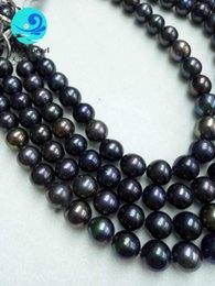 Wholesale Black Cultured Pearl Beads - AA Gorgeous Black Rainbow Peacock Round Cultured Freshwater Pearl Beads