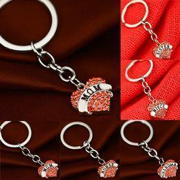 Wholesale faith crystal - Pink Crystal love heart keychain Grandma aunt Faith Hope family member pendant key chain key rings girls women Mother drop shipping 170362