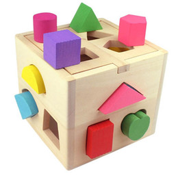 Wholesale Block C - Wooden Bricks Toy Thirteen Hole Intelligence Box Building Blocks Childhood Educational Toys Gift 18 62ts C R