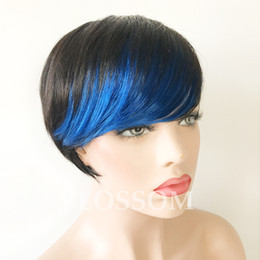 highlighting short hair Promo Codes - New Ombre Short Huaman Hair Wigs red highlight bangs pixie cut capless human hair wigs for black woman