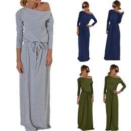 Wholesale Cotton Sundresses Long - Hot Sale Women's Boho Long Sleeve Maxi Dress Summer Beach Party Casual Pocket Strapless Sundress Blouse RF0750