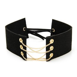 Wholesale Gothic Belts - whole sale2016 Trendy Black Velvet Choker Necklace Women Choker Belt Bts Statement Gothic Retro Burlesque Maxi Chocker Jewelry